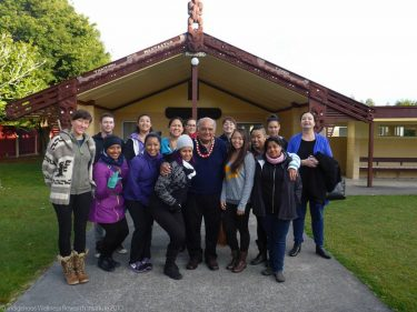 photo of the first Mahina program cohort (2015) in front of the Waipapa Marae