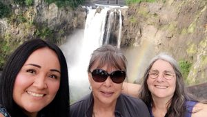 Photo: At Snoqualmie Falls; (center) co-host Deborah His Horse Is Thunder